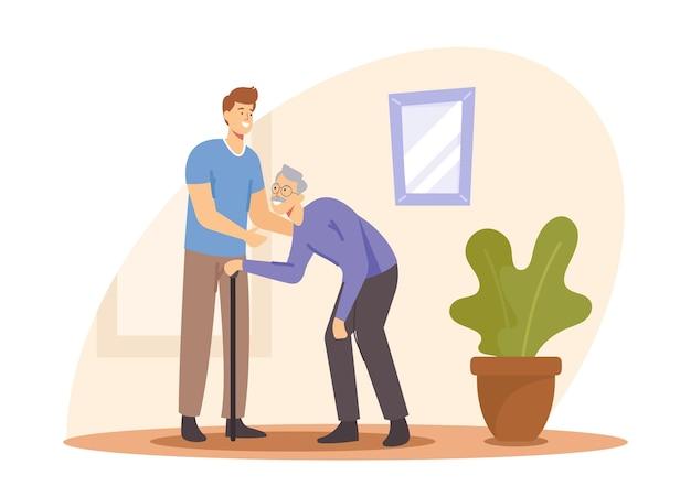 Wohnkrankenpflege, medizinische hilfe. junge freiwillige helfen einem alten behinderten mann mit gehstock, um zu hause oder im pflegeheim zu gehen