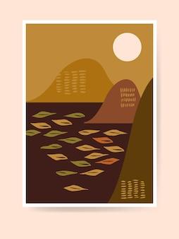 Wohnkultur im boho-stil aus der mitte des jahrhunderts. moderne japanische abstrakte landschaft. zeitgenössischer künstlerischer minimalistischer druck. kinderzimmer dekoration, wandkunst. neutrale terrakottafarben, erdtöne. vektor-illustration