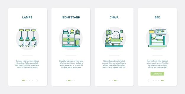 Wohnkultur möbel kollektion. ux, ui onboarding mobile app set dekorative einrichtung innenobjekt für schlafzimmer, wohnzimmer, lampe nachttisch stuhl bett