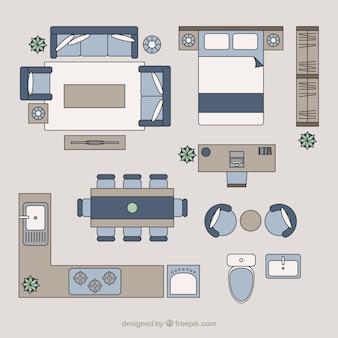 Wohnmöbel in der Draufsicht