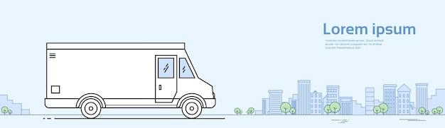 Wohnmobil-auto auf straßen-auto-reise-konzept-fahne