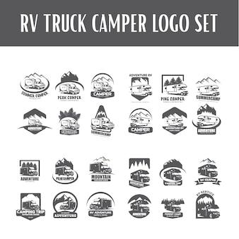 Wohnmobil camper logo vorlage set