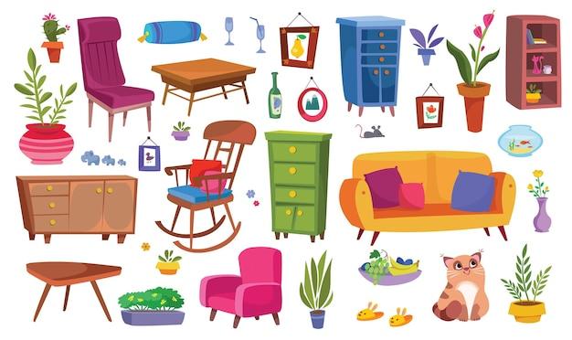 Wohnmöbel großes clipart-set haushaltsartikel sofa stuhl kleiderschrank und pflanzen sind lustig