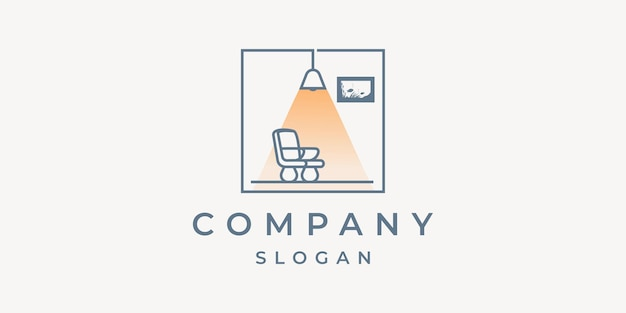 Wohnmöbel-logo mit minimalistischen elementen