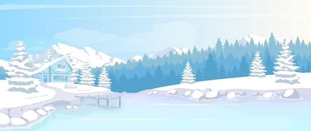 Wohnsitz in der flachen farbillustration des winterwaldes