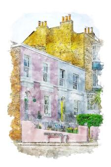 Wohnung aquarellskizze hand gezeichnete illustration