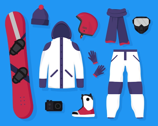 Wohnung mit snowboardausrüstung und zubehör board, schutzhelm, maske, actionkamera, warme jacke, hose, schal, mütze, handschuhe und stiefel. wintersport und aktive erholung