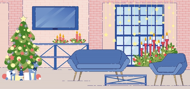 Wohnungs-innenfeiertags-dekorations-flacher vektor