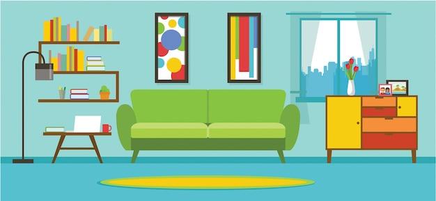 Wohnungs-wohnzimmer-innenvektor