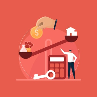 Wohnungsbaudarlehenskonzept, kauf- und verkaufsbewertung von immobilien, immobilienagentur, illustration zur finanzberatung