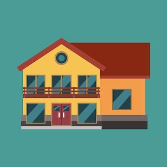 Wohnungsbauimmobilien icond. flache illustrationshäuschenaußenstruktur der hauptfamilie