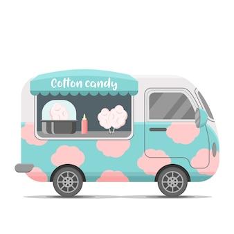 Wohnwagen-wohnwagenanhänger mit zuckerwatte. bunte illustration, karikaturart, lokalisiert auf weißem hintergrund