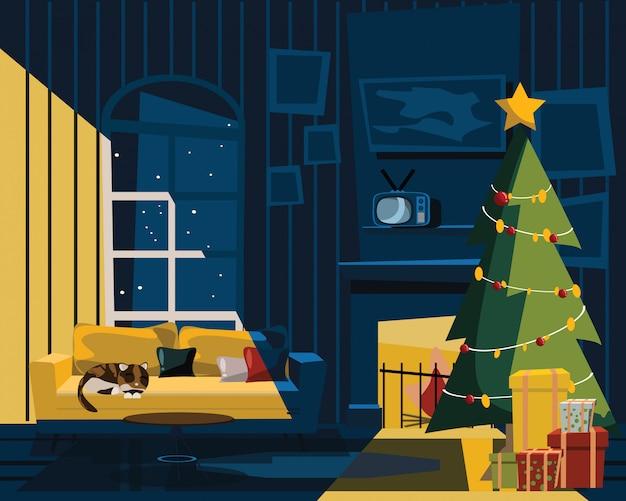 Wohnzimmer am weihnachtstag