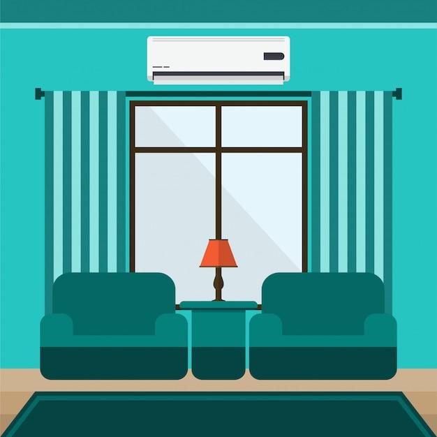 Wohnzimmer des flachen designs mit der vektorillustration mit zwei sofas
