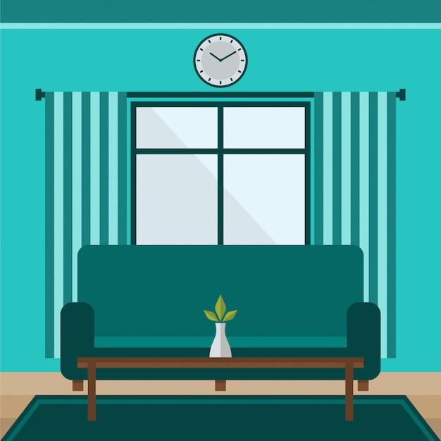 Wohnzimmer des flachen designs mit langer sofavektorillustration