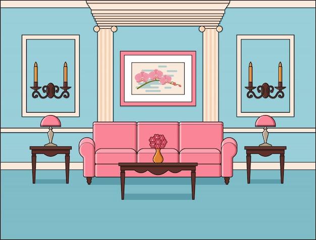 Wohnzimmer flache innenausstattung in line art. vektorillustration.