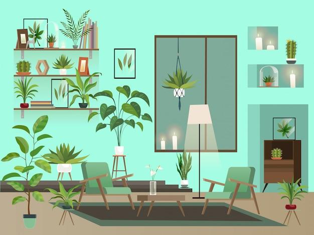 Wohnzimmer in der nacht. städtisches interieur mit innenblumen, stühlen, vase und kerzen