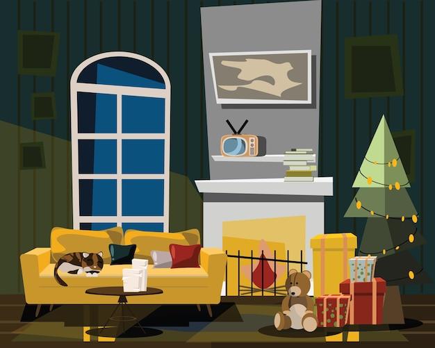 Wohnzimmer in der weihnachtsvektorillustration