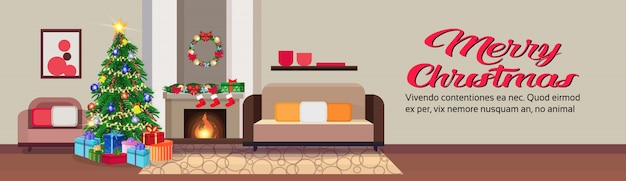 Wohnzimmer in weihnachtsbanner
