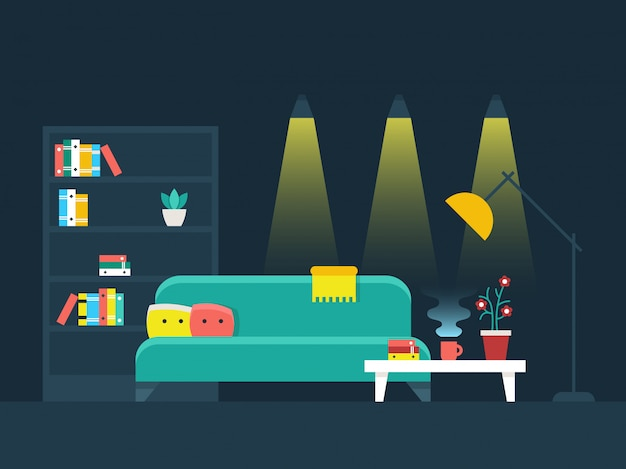 Wohnzimmer innen flache vektor-illustration
