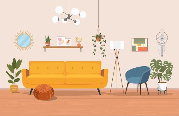 Wohnzimmer innenillustration