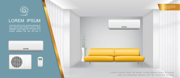 Wohnzimmer innenlicht zusammensetzung mit gelben sofa klimaanlage zimmerpflanze in realistischen stil