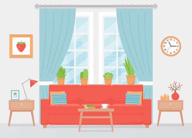 Wohnzimmer interieur. illustration. flaches design.