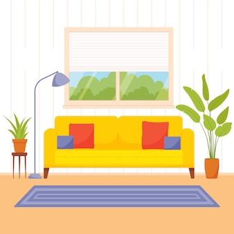 Wohnzimmer interieur. illustration in einem flachen stil.
