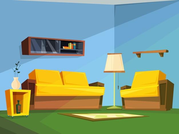 Wohnzimmer interieur im cartoon-stil