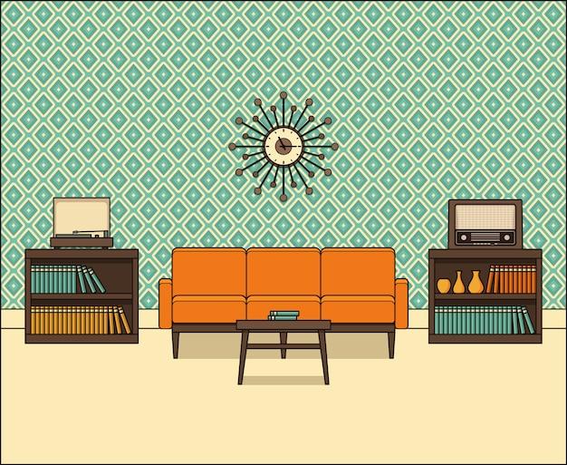 Wohnzimmer interieur in strichzeichnungen, linear,