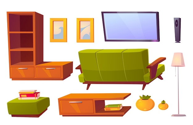 Wohnzimmer interieur mit grünem sofa, bücherregalen und fernseher. karikaturmöbelsammlung für haus, hocker, bilderrahmen, stehlampe und rückansicht der couch lokalisiert auf weißem hintergrund