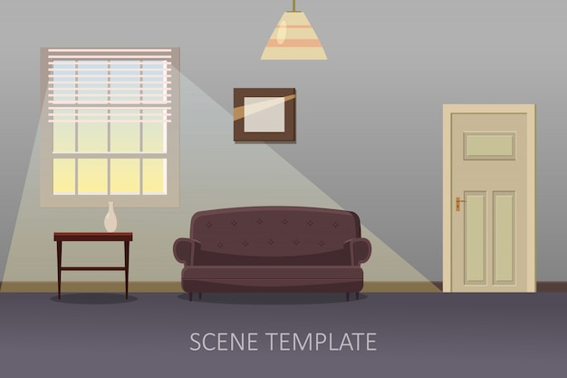 Wohnzimmer interieur mit möbeln. vektorabbildung in der karikaturart