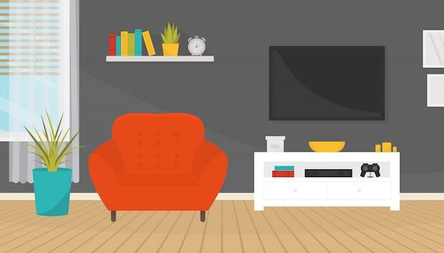 Wohnzimmer interieur mit möbeln. weicher sessel, fernseher, regal und fenster. hauptdesign. moderne wohnung.