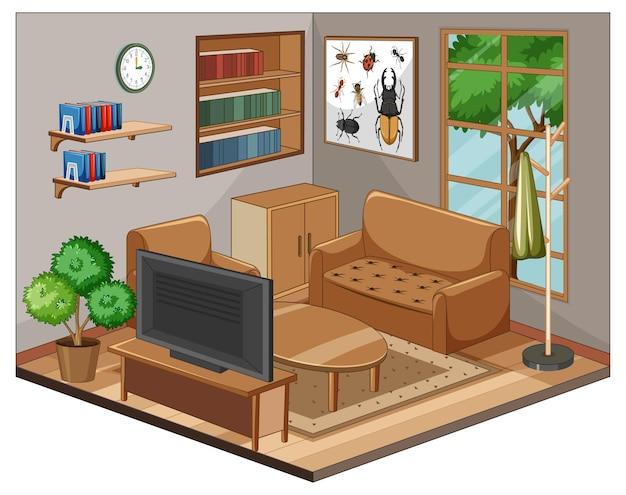 Wohnzimmer interieur mit möbeln