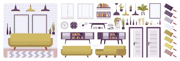 Wohnzimmer interieur, zuhause, büro kreation set