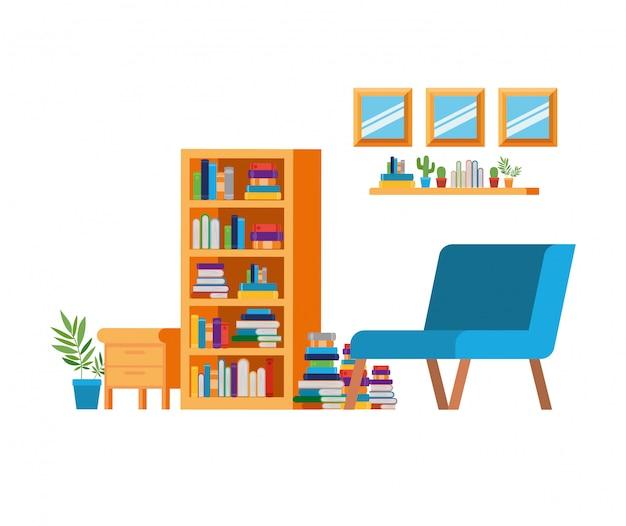 Wohnzimmer mit couch und bücherregal
