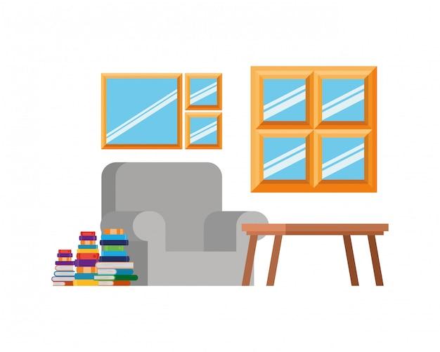 Wohnzimmer mit couch und stapel büchern