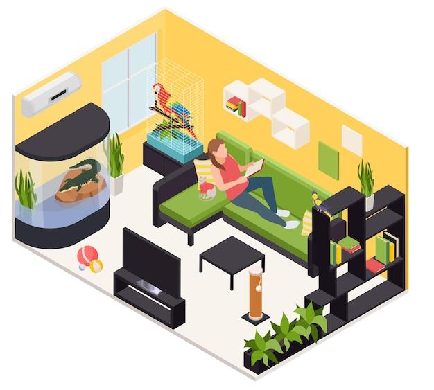 Wohnzimmer mit exotischen papageientierpapagei im käfigkrokodil in der isometrischen innenansicht des terrariums