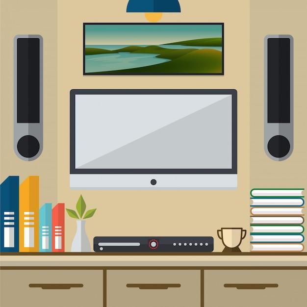 Wohnzimmer mit fernsehapparat- und dvd-spielervektorillustration