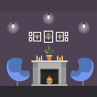 Wohnzimmer mit kamin coworking cartoon wohnung.