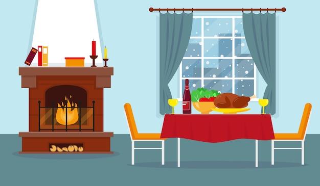 Wohnzimmer mit kamin und möbeln. gemütliches winterinterieur. festliches abendessen.