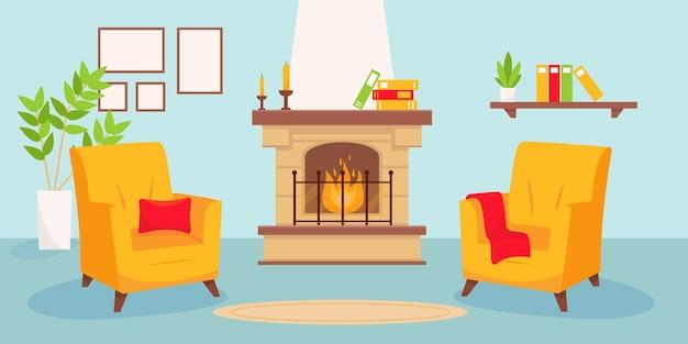 Wohnzimmer mit kamin und zwei gelben sesseln.