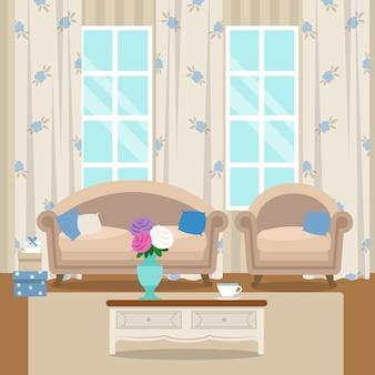Wohnzimmer mit möbeln. gemütliches interieur. flachen stil vektor