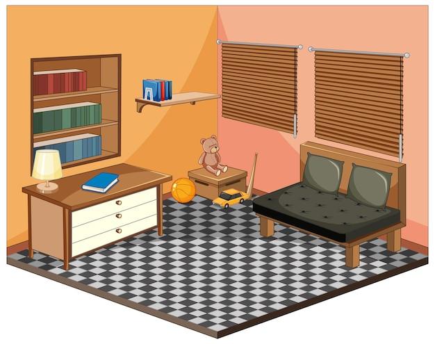 Wohnzimmer mit möbeln isometrisch