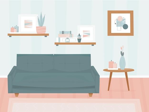 Wohnzimmer mit möbeln. modernes minimalistisches interieur. stylistisches aussehen. sofa- und dekorationsgegenstände, gemälde an den wänden. vektorillustration, flach