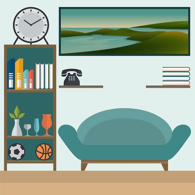 Wohnzimmer mit sofa und bücherregalen flach
