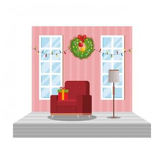 Wohnzimmer mit weihnachtsdekorationsszene