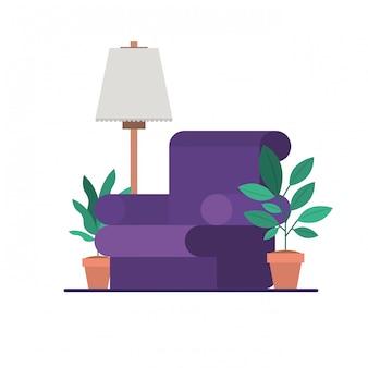 Wohnzimmer mit zimmerpflanzen und lampe
