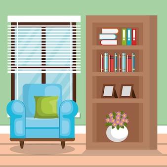 Wohnzimmer szene symbol