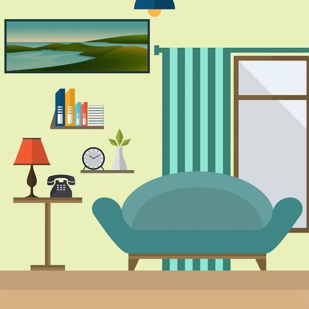 Wohnzimmer-vektorillustration des flachen designs